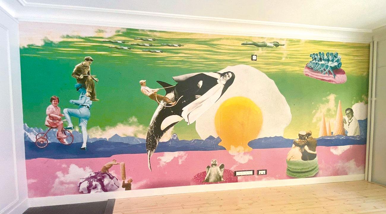 Création fresque murale en collage numérique grand format